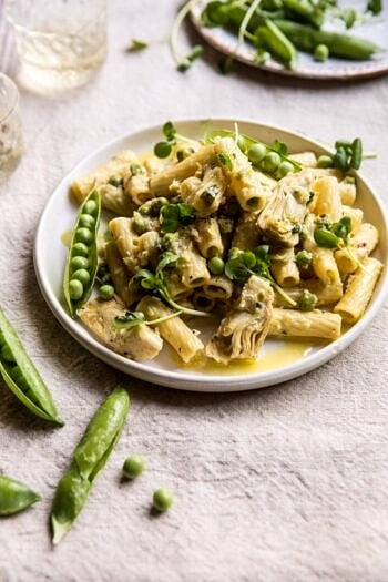 30 Minute Artichoke and Pea Rigatoni Pasta.