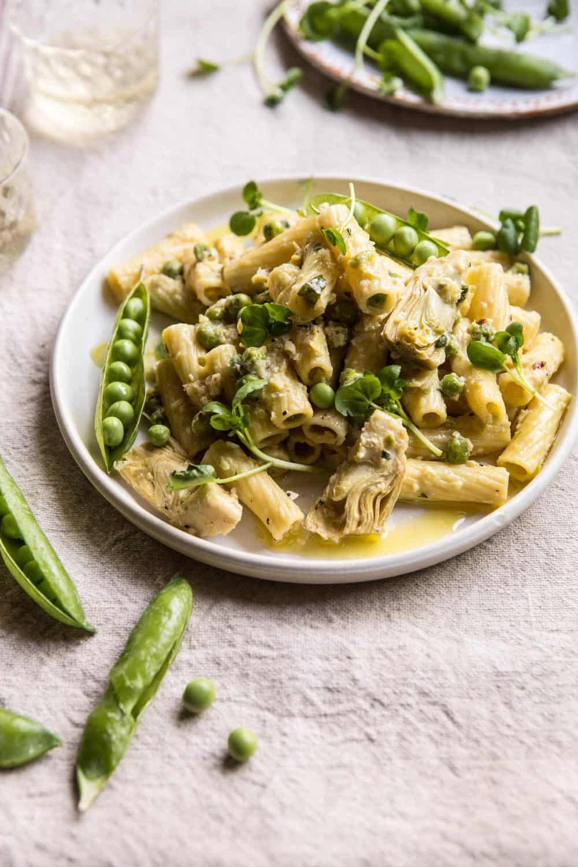30 Minute Artichoke and Pea Rigatoni Pasta | halfbakedharvest.com #pasta #spring #artichokes #recipes