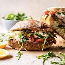 Antipasto Mozzarella Sandwich with Lemony Basil Pesto.