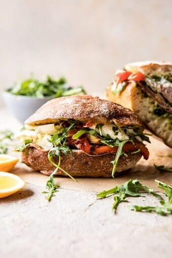 Antipasto Mozzarella Sandwich with Lemony Basil Pesto | halfbakedharvest.com #sandwich #italian #spring #summer #recipes