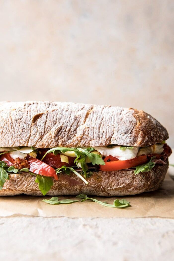 Antipasto Mozzarella Sandwich with Lemony Basil Pesto | halfbakedharvest.com #sandwich #italian #spring #summer #recipes
