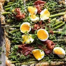 Asparagus, Egg, and Prosciutto Tart with Everything Spice.