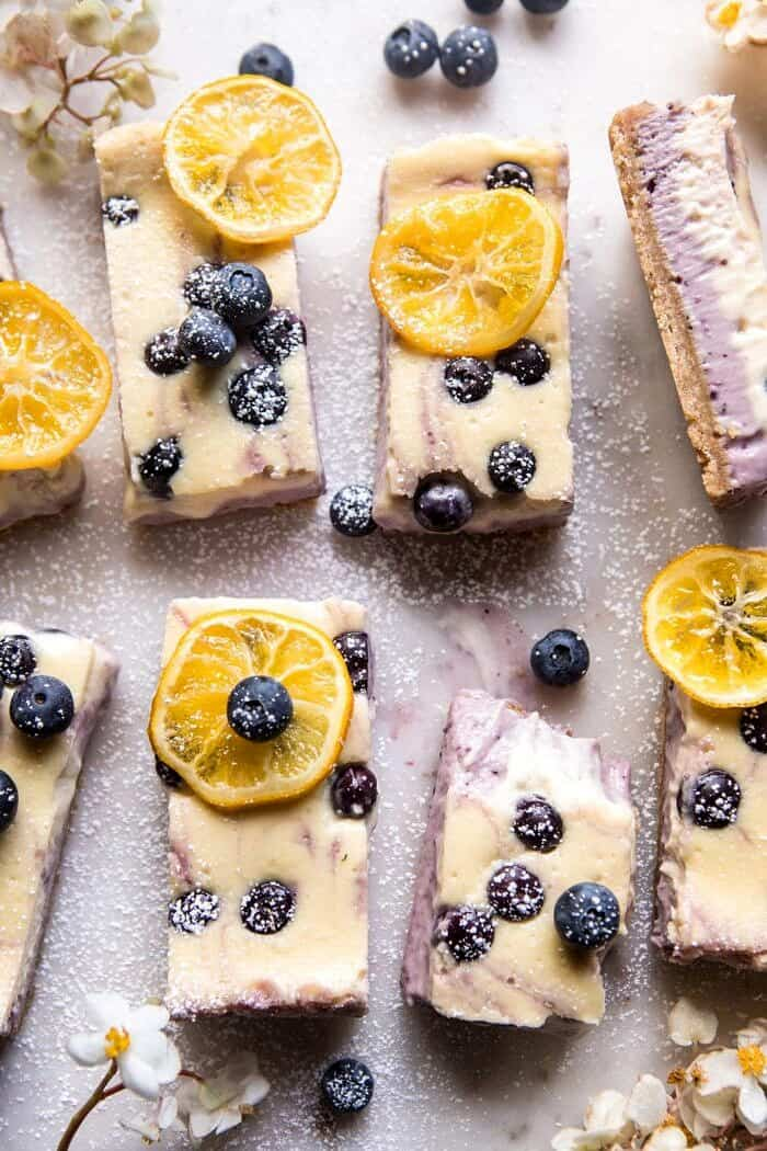 Blueberry Lemon Cheesecake Bars with Candied Lemon | halfbakedharvest.com #spring #easter #cheesecake #dessert