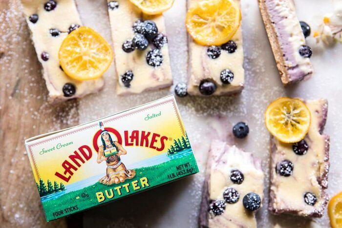 Blueberry Lemon Cheesecake Bars with Candied Lemon | halfbakedharvest.com #spring #easter #cheesecake #dessert