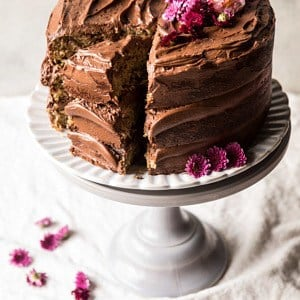 Coconut Banana Cake with Chocolate Frosting.