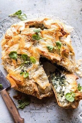 Greek Spinach and Feta Pie (Spanakopita) | halfbakedharvest.com #greek #easter #spring #spinach