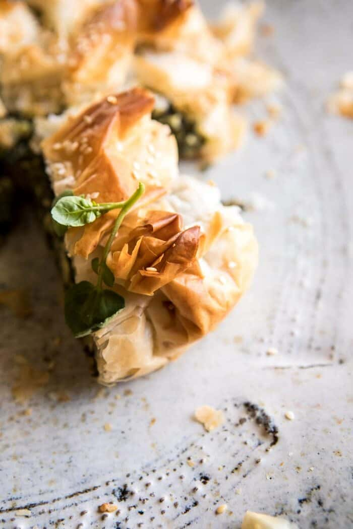 Greek Spinach and Feta Pie (Spanakopita) | halfbakedharvest.com #greek #easter #spring #spinach