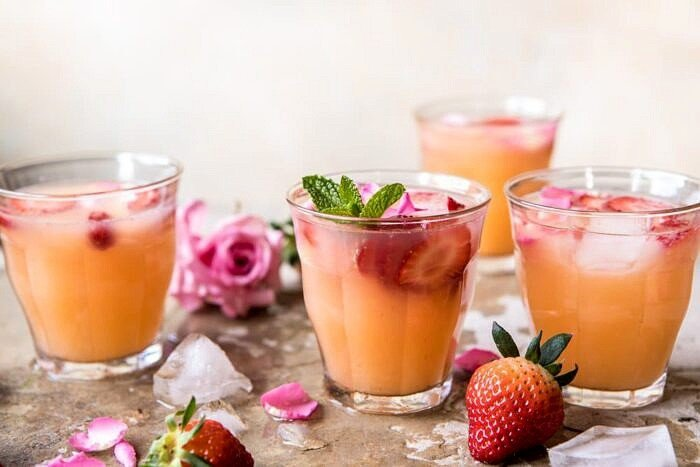 Minted Orange and Strawberry Coolers | halfbakedharvest.com #cocktail #spring #recipes #brunch
