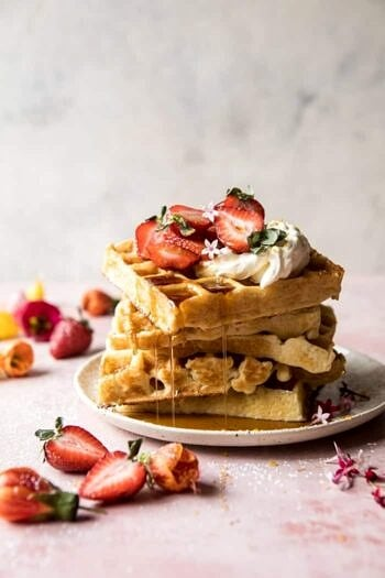 Overnight Waffles with Whipped Meyer Lemon Cream and Strawberries.