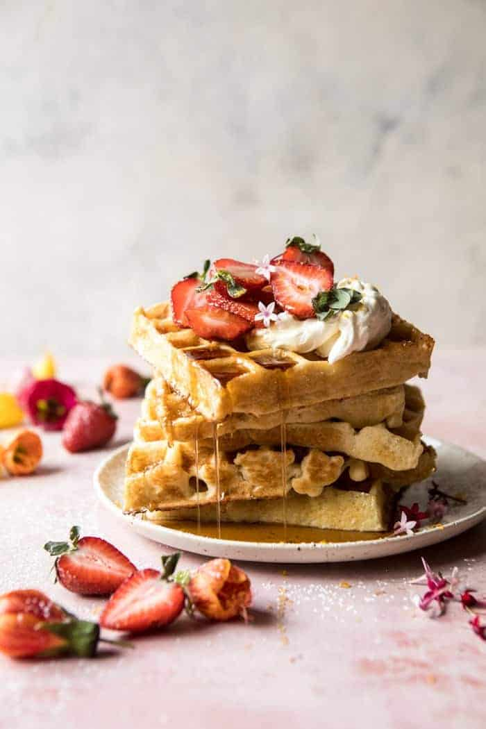 Overnight Waffles with Whipped Meyer Lemon Cream and Strawberries   halfbakedharvest.com #brunch #breakfast #waffles #east #mothersday
