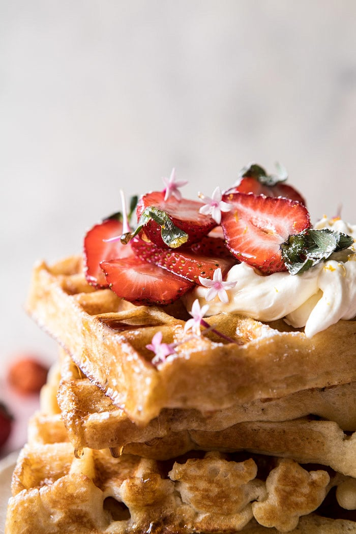 Overnight Waffles with Whipped Meyer Lemon Cream and Strawberries | halfbakedharvest.com #brunch #breakfast #waffles #east #mothersday