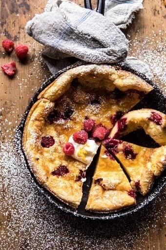 Raspberry Lemon Ricotta Dutch Baby | halfbakedharvest.com #brunch #breakfast #easter #summer #recipes