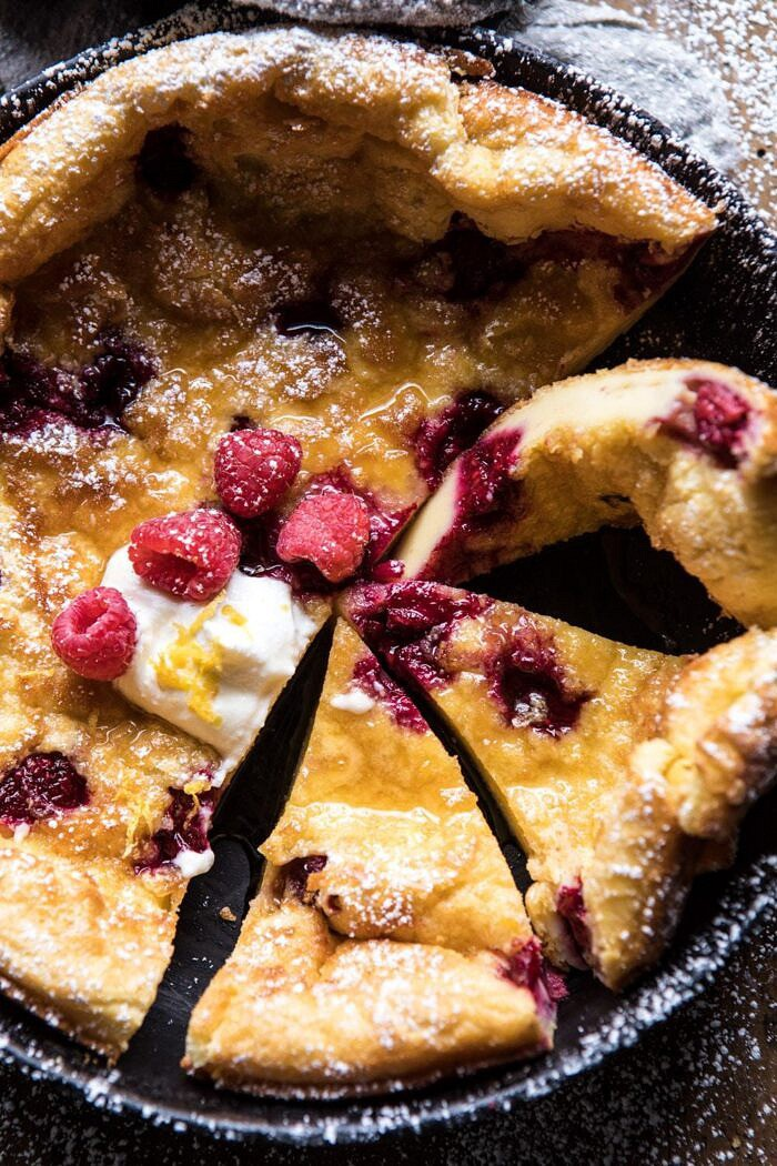 Raspberry Lemon Ricotta Dutch Baby | halfbakedharvest.com #brunch #breakfast #easter #summer #recipes