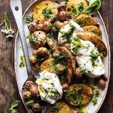 Roasted Mixed Potatoes with Spring Herbs and Burrata.