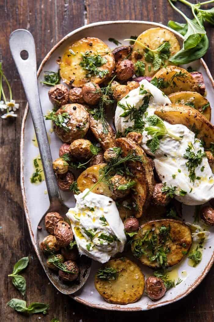 Roasted Mixed Potatoes with Spring Herbs and Burrata | halfbakedharvest.com #spring #recipes #brunch