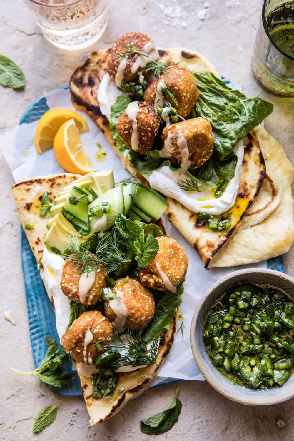 Sesame Falafel with Ginger Tahini and Jalapeño Sauce | halfbakedharvest.com #greek #healthy #recipes