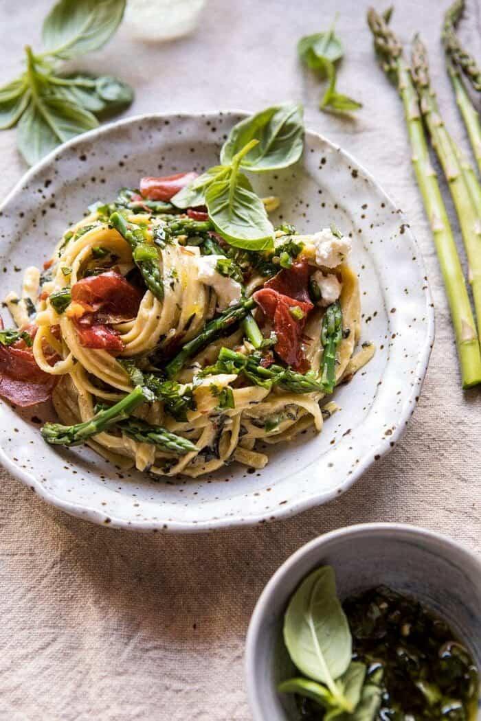 Spicy Pesto, Asparagus, and Ricotta Pasta with Crispy Prosciutto | halfbakedharvest.com #pasta #recipes #quick