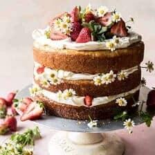 Strawberry Chamomile Naked Cake.