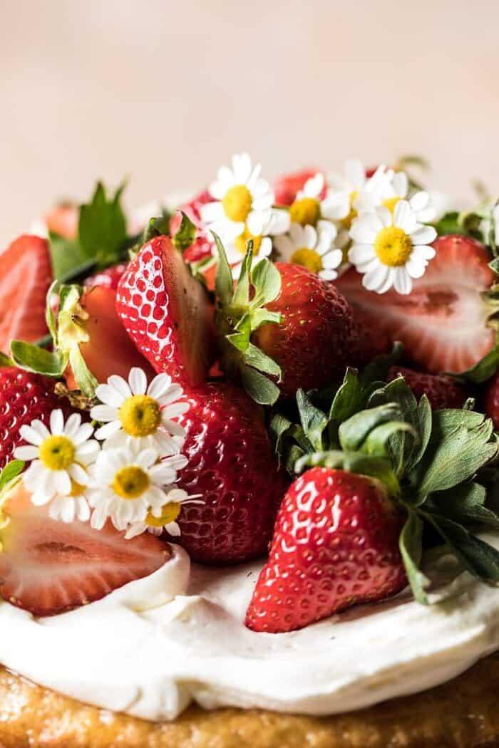Strawberry Chamomile Naked Cake | halfbakedharvest.com #cake #spring #strawberry #recipes #easter