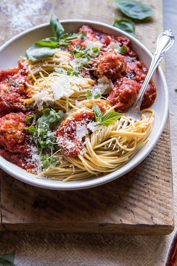 Sun-Dried Tomato and Ricotta Turkey Meatballs | halfbakedharvest.com #pasta #Italian #easy #healthy