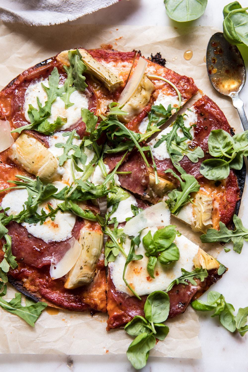 15 Minute Thin Crust Pizza with Arugula and Hot Honey | halfbakedharvest.com #pizza #quick #easy #recipe