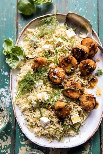 20 Minute Honey Garlic Butter Scallops and Orzo | halfbakedharvest.com #quick #easy #spring #recipes