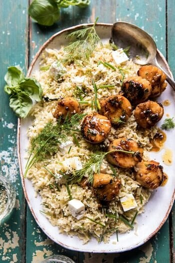 20 Minute Honey Garlic Butter Scallops and Orzo.