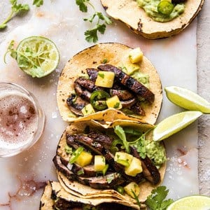 Asada Mushroom Tacos with Lime Smashed Avocado.
