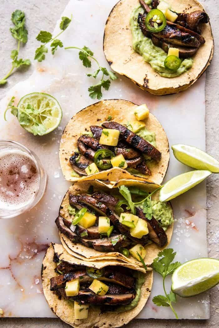 Asada Mushroom Tacos with Lime Smashed Avocado | halfbakedharvest.com #tacos #healthy #dinner #mexican