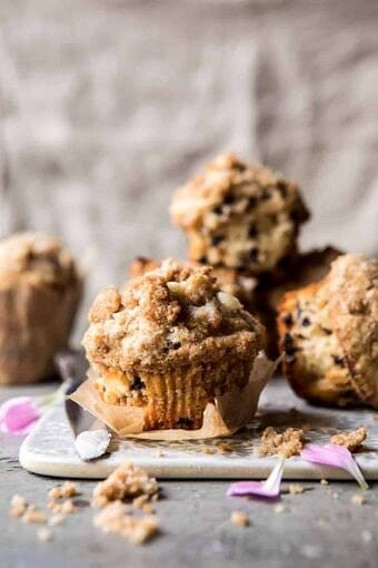 Better Than the Bakery Chocolate Chip Coffee Cake Muffins | halfbakedharvest.com #breakfast #brunch #chocolate
