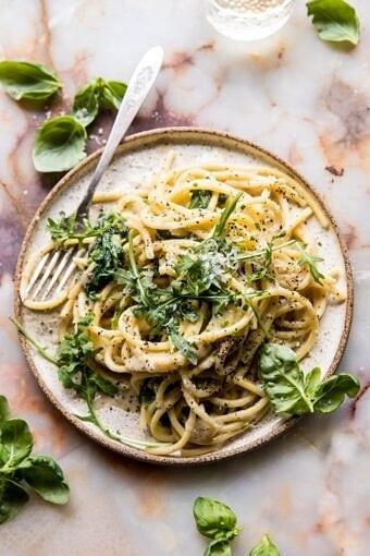 Cacio e Pepe with Arugula and Lemon | halfbakedharvest.com #pasta #easy #recipes