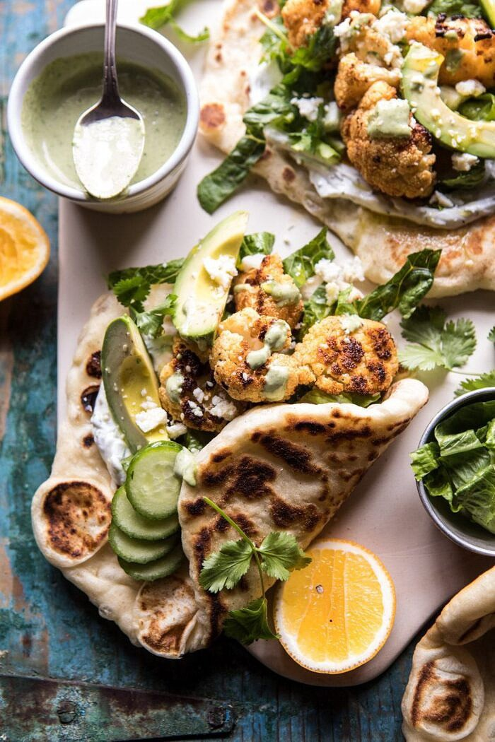Cauliflower Shawarma Wraps with Green Tahini and Feta | halfbakedharvest.com #easy #recipes #healthy