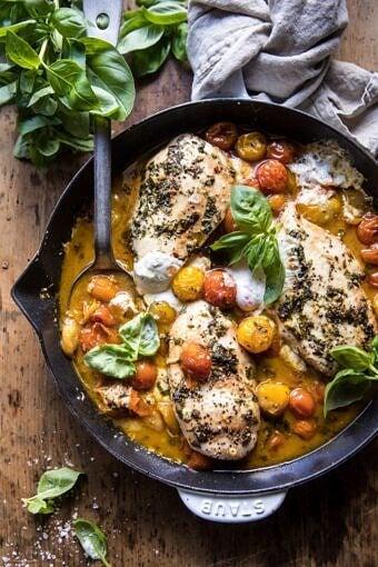 Cheesy Tomato Basil Stuffed Chicken | halfbakedharvest.com #chicken #easy #recipes