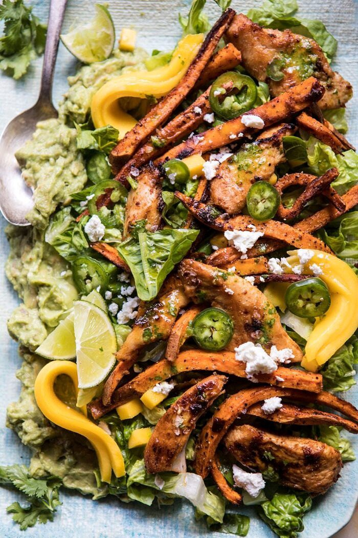 Chipotle Lime Chicken and Sweet Potato Salad with Jalapeno Vinaigrette | halfbakedharvest.com #mexcian #salad #healthy #chicken