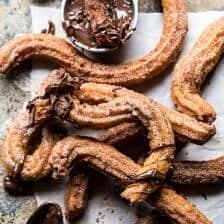 Easy Cinnamon Churros with Coffee Chocolate Sauce   halfbakedharvest.com #mexican #doughnut #dessert #chocolate