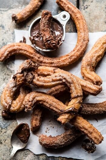 Easy Cinnamon Churros with Coffee Chocolate Sauce.