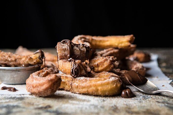Easy Cinnamon Churros with Coffee Chocolate Sauce | halfbakedharvest.com #mexican #doughnut #dessert #chocolate