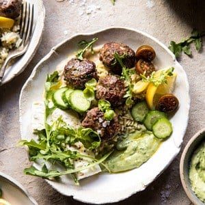 Greek Lamb Meatballs with Avocado Goddess Sauce.