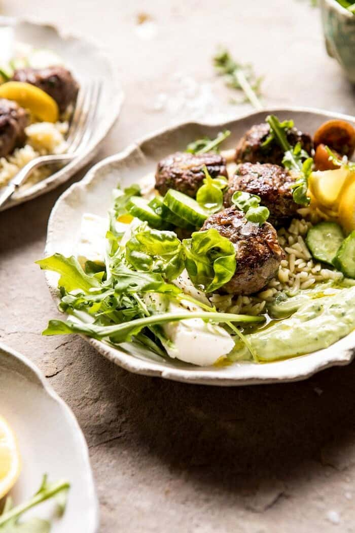 Greek Lamb Meatballs with Avocado Goddess Sauce | halfbakedharvest.com #lamb #easy #meatballs