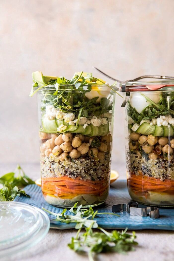 Mediterranean Chickpea and Egg Salad Jars | halfbakedharvest.com #healthy #mealprep #recipes
