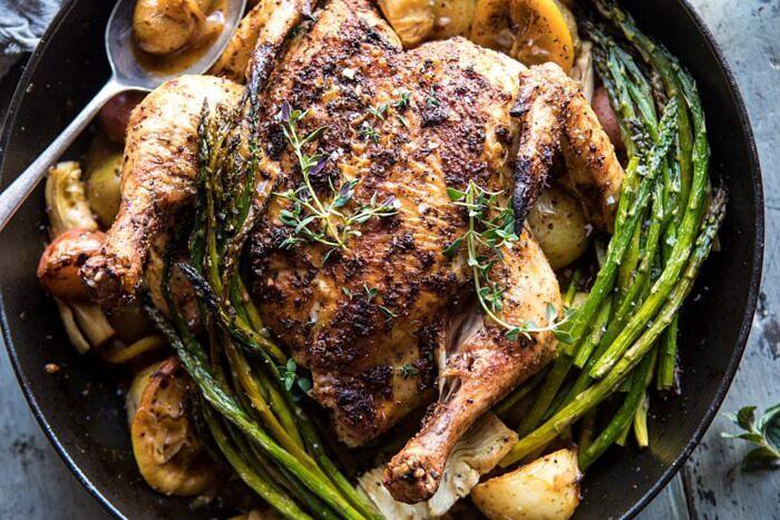 Spring Skillet Roasted Lemon Chicken and Veggies | halfbakedharvest.com #chicken #easy #dinner #recipes