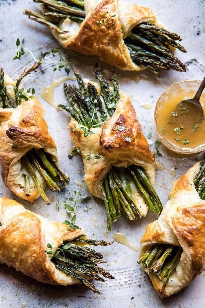 overhead photo of Asparagus and Brie Puff Pastry with Thyme Honey