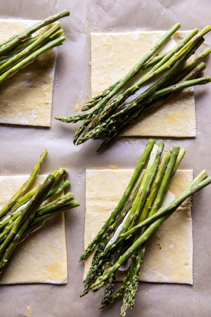 overhead prep photo of pasty with brie and asparagus