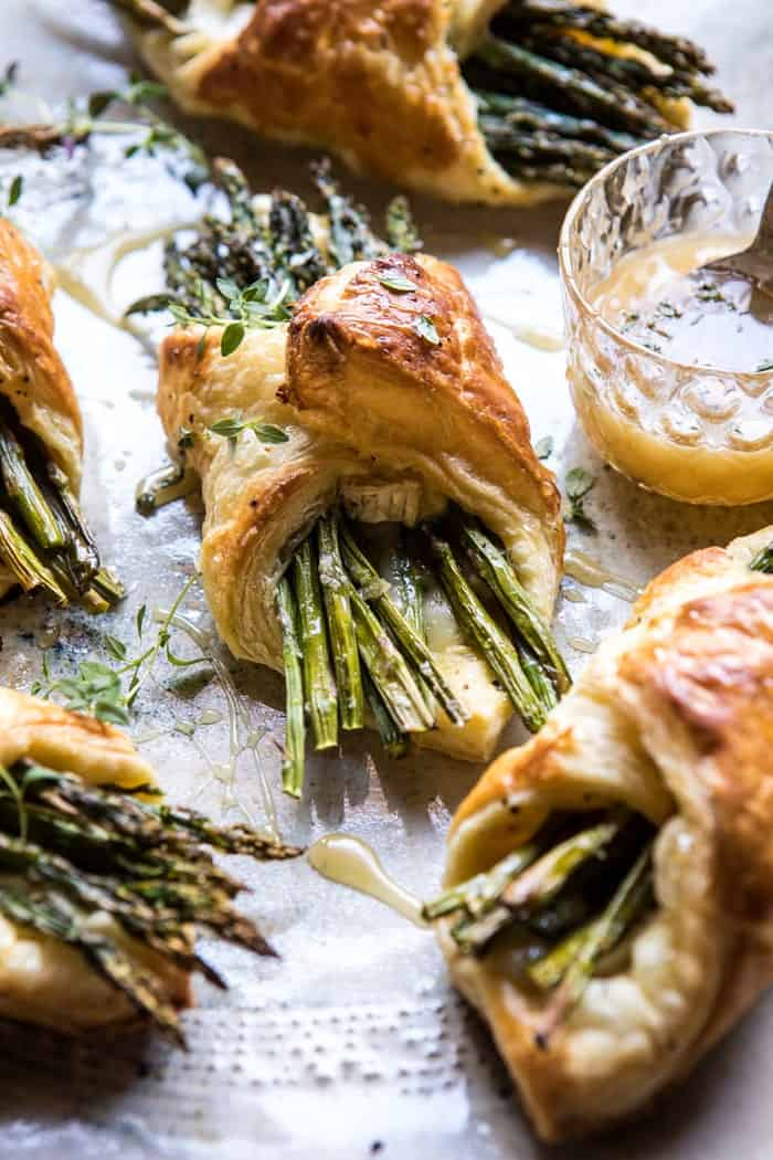 side photo of Asparagus and Brie Puff Pastry with Thyme Honey