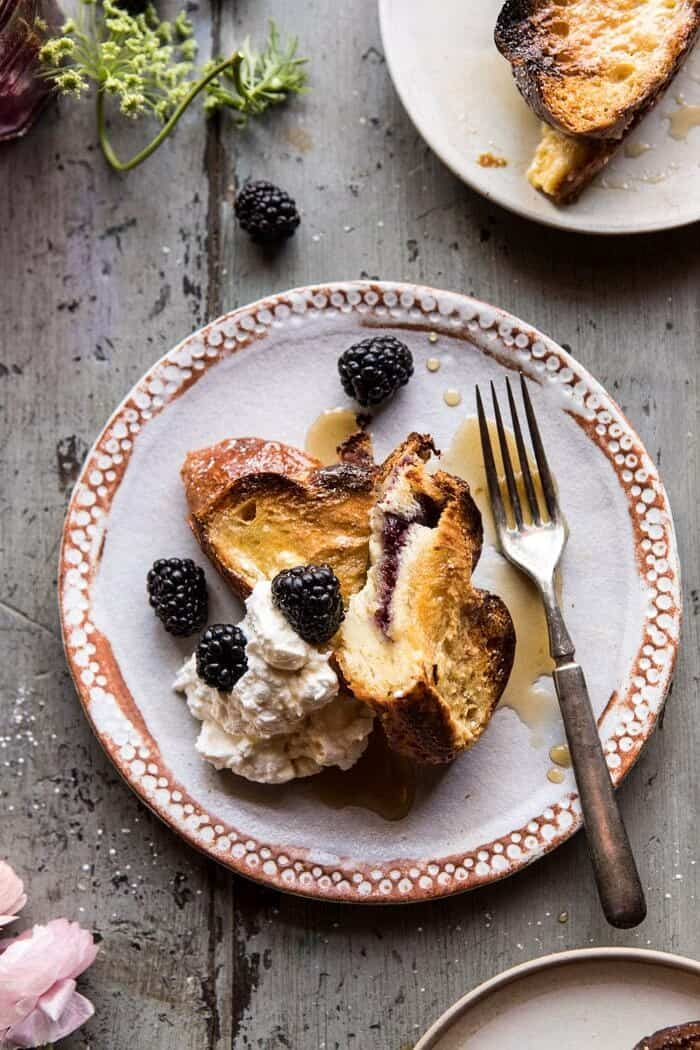 cut into photo of Baked Blackberry Ricotta French Toast