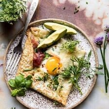 Baked Egg Crepes with Spring Herbs and Avocado.