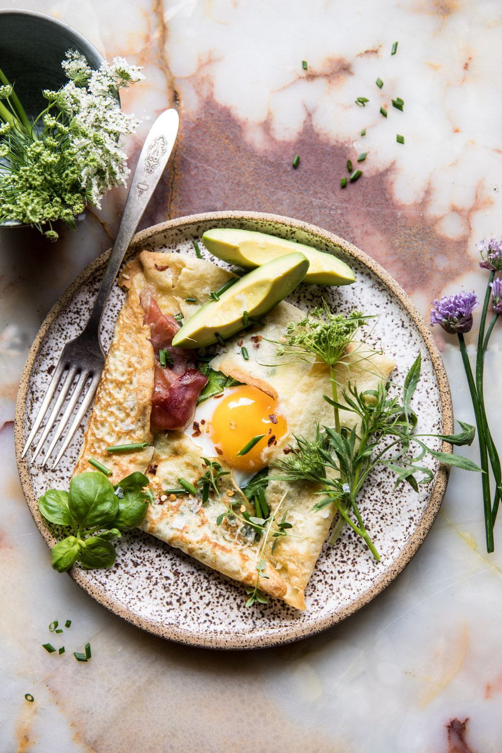 Baked Egg Crepes with Spring Herbs and Avocado | halfbakedharvest.com #breakfast #brunch #easyrecipe
