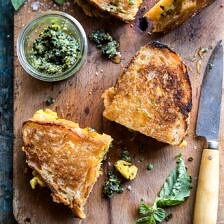 Breakfast Grilled Cheese with Soft Scrambled Eggs and Pesto.
