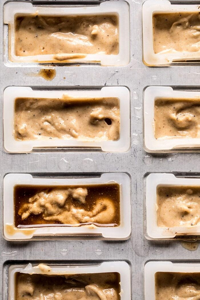 overhead prep photo Chocolate Coconut Latte Fudge Popsicles in molds