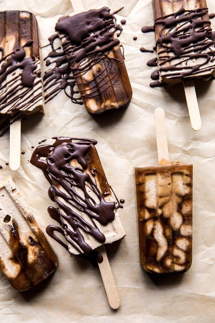 prep overhead photo of Chocolate Coconut Latte Fudge Popsicles